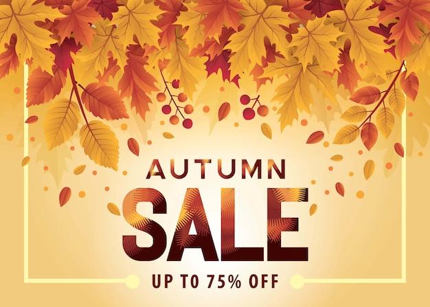 Olá banner de venda de temporada de outono