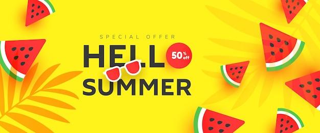Olá, banner de venda de verão com fatias de melancia madura
