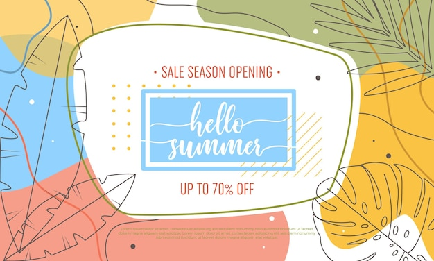 Olá, banner de venda de verão com folhas tropicais e formas abstratas