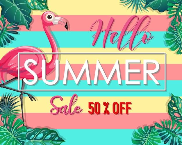 Olá, banner de venda de verão com folhas tropicais