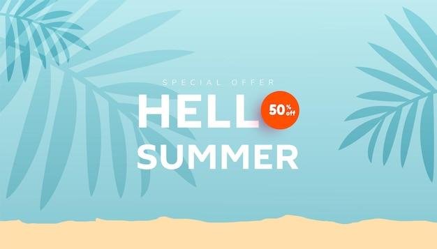 Olá, banner de venda de verão com formas de bolhas fluidas e folhas tropicais