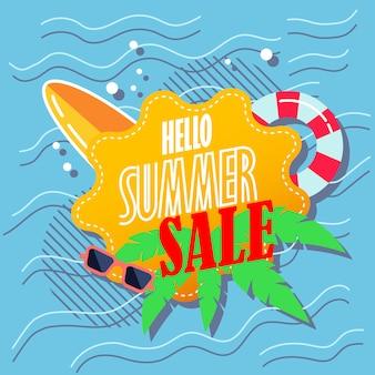 Olá banner de venda de verão
