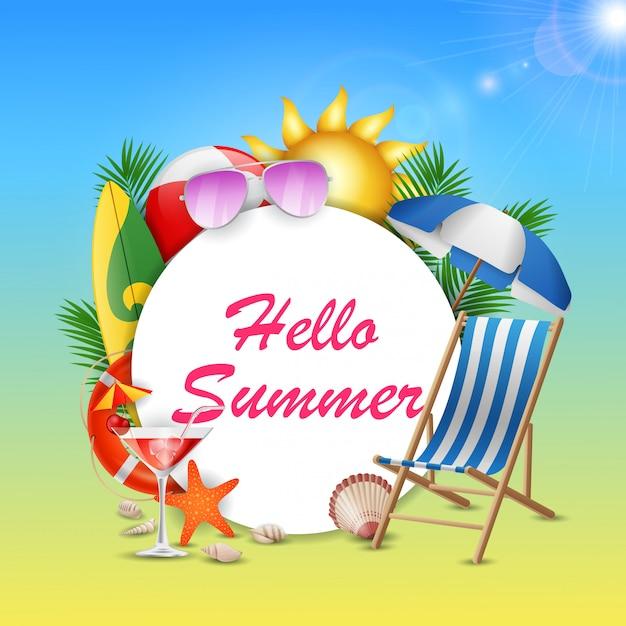 Olá banner de verão com céu azul de beleza.