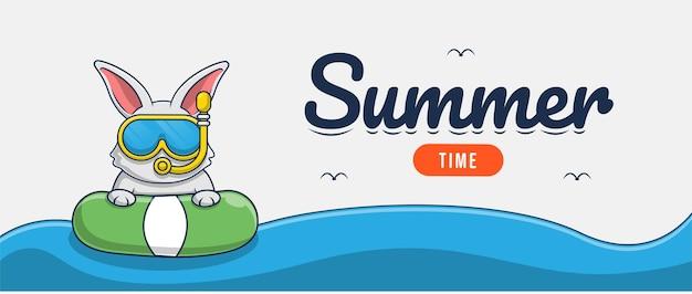 Olá, banner de verão com desenho de personagens de ilustração de coelho