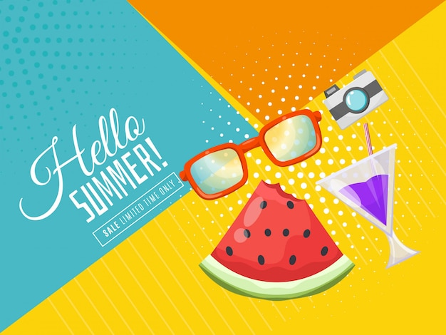 Olá banner de verão com elementos de praia