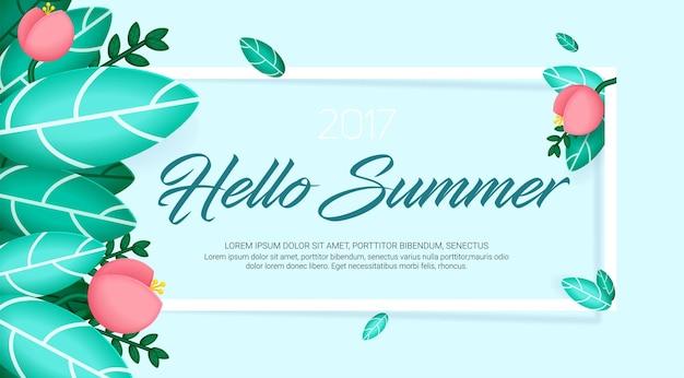 Olá, banner de verão com flores e folhas exóticas naturais