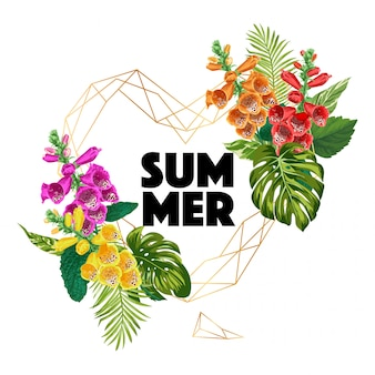 Olá banner de verão com flores tropicais