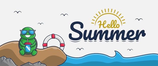 Olá, banner de verão com personagem de desenho animado de tartaruga de praia