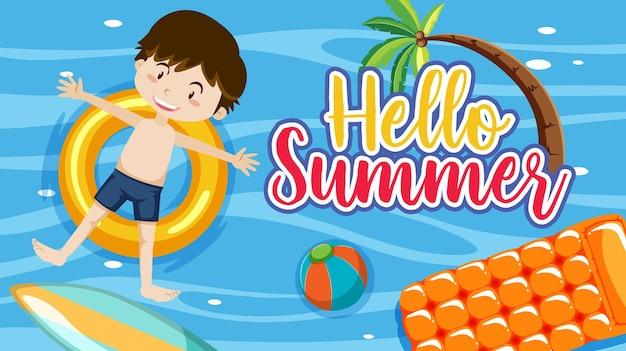 Olá, banner de verão com um menino deitado na pista de natação na piscina