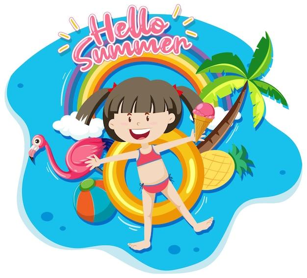 Olá, banner de verão com uma garota deitada na pista de natação isolada