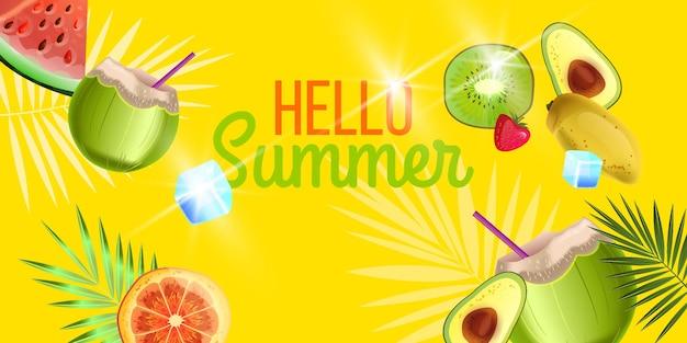 Olá, banner de verão, fundo de festa na praia com coco verde laranja kiwi abacate melancia
