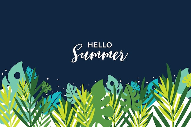 Olá, banner de verão, fundo tropical