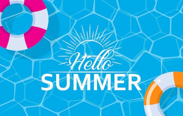 Olá banner de web de verão com anel de natação na piscina