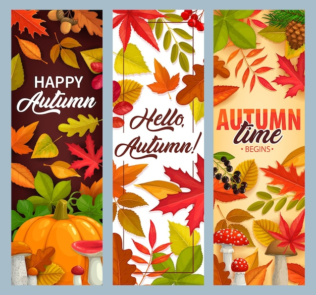 Olá, banners de outono vetor com folhas caindo