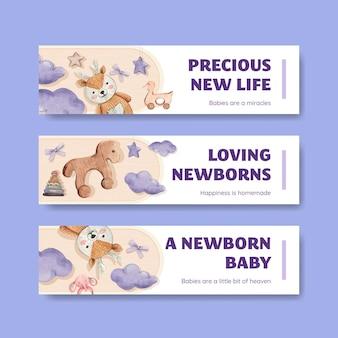 Olá, bebê conjunto de modelos de banner, estilo aquarela Vetor Premium