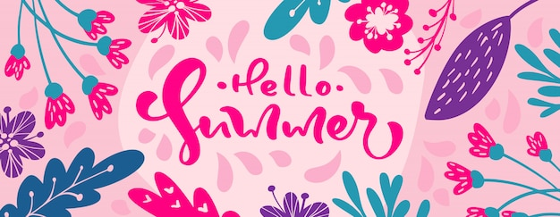 Olá caligrafia de verão letras banner de texto