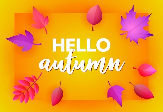 Olá cartão amarelo outono