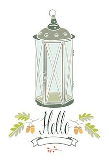 Olá cartão com lâmpada vintage e dois galhos de carvalho
