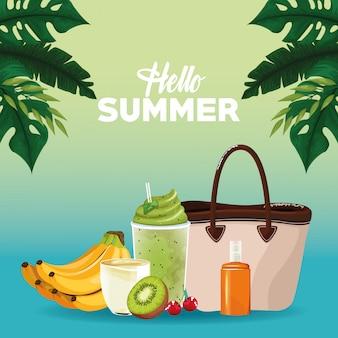 Olá cartão de cartão de verão em estilo cartoon