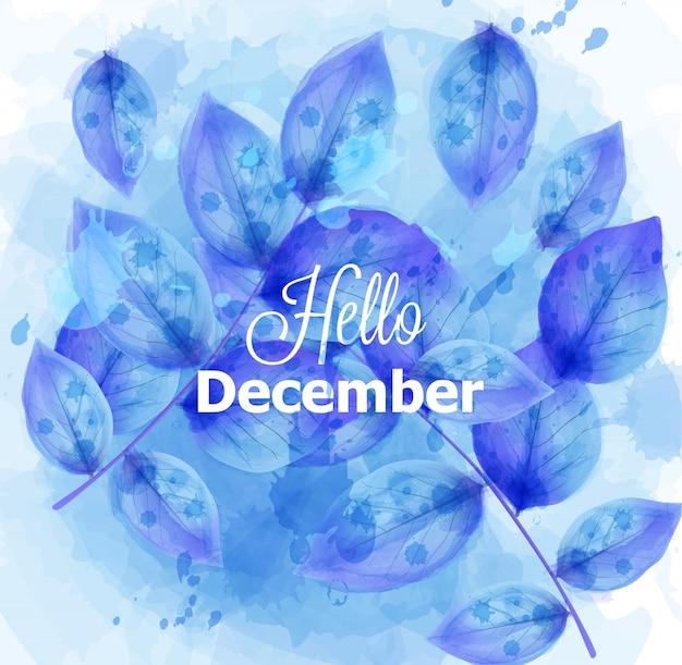 Olá cartão de dezembro com folhas azuis