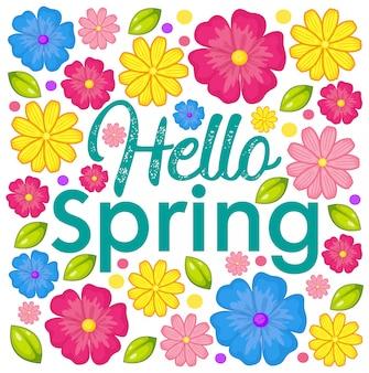 Olá cartão de flor de primavera