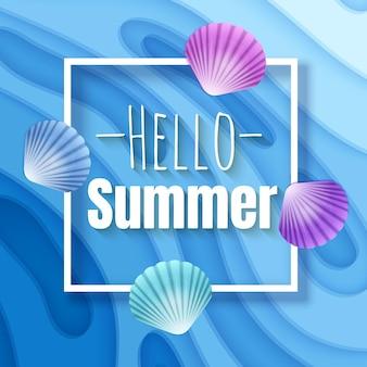 Olá, cartão de ilustração de banner de verão com fundo com formas de corte de papel de cor amarela profunda