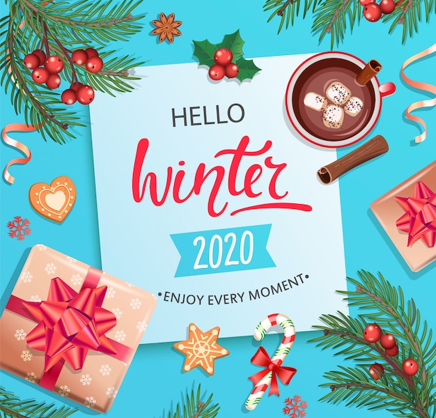 Olá cartão de inverno 2020.