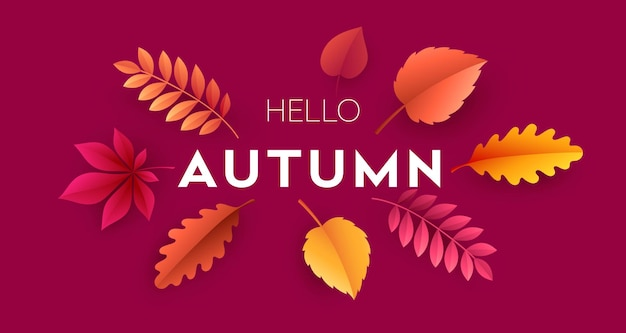 Olá cartão de outono com folhas de outono brilhantes