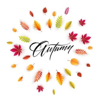 Olá cartão de outono com folhas outonais
