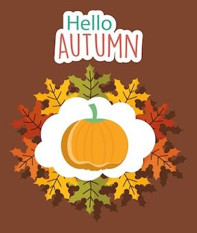 Olá cartão de outono de abóbora