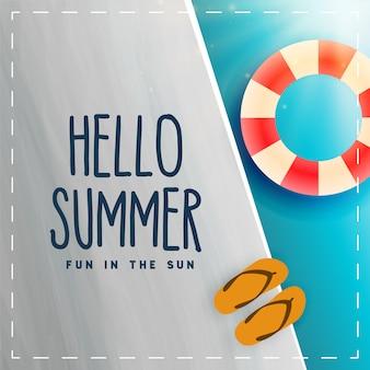 Olá cartão de piscina swimminh verão