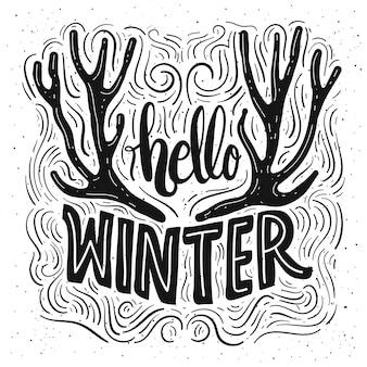 Olá cartão de rotulação de inverno.