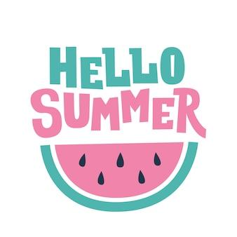 Olá cartão de texto e melancia de verão