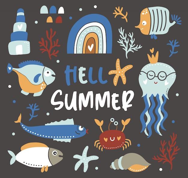 Olá cartão de verão com elementos oceânicos de crianças.