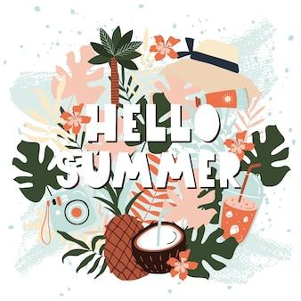 Olá cartão de verão com frutas.