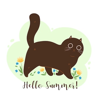 Olá, cartão de verão com gato e flores