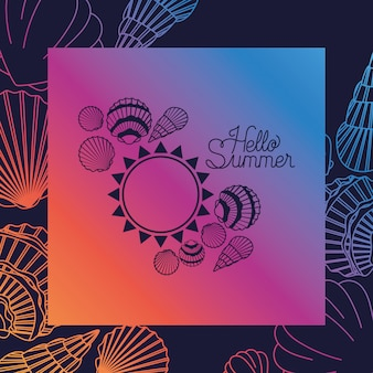 Olá cartão de verão com moldura