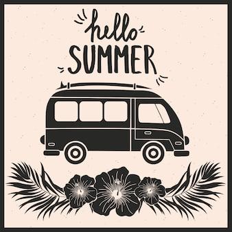 Olá cartão de verão com ônibus.