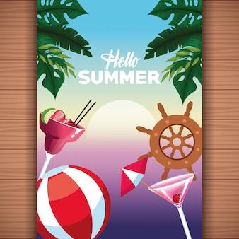 Olá cartão de verão em fundo de madeira