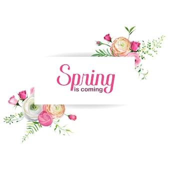 Olá cartão floral primavera para decoração de férias. convite de casamento, modelo de saudação com flores cor de rosa desabrochando. ilustração vetorial