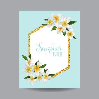 Olá cartão tropical de verão com flores
