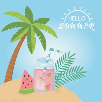 Olá cartaz de verão com cena de fruits