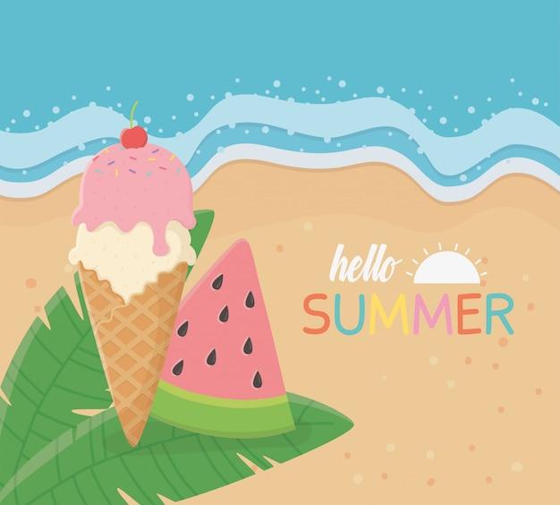 Olá cartaz de verão com cena de praia e sorvete de melancia