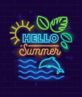 Olá cartaz de verão com elementos brilhantes de estilo néon e tipografia no fundo da parede de tijolo.