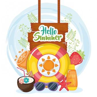 Olá cartaz de verão com etiqueta de madeira e ícones