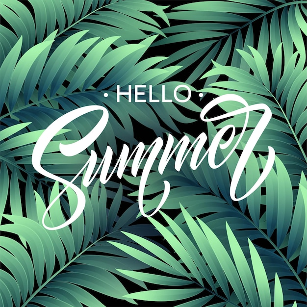 Olá cartaz de verão com folha de palmeira tropical e letras manuscritas.