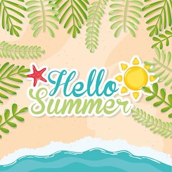Olá cartaz de verão com ícones de férias