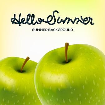 Olá cartaz de verão com maçãs, ilustração.