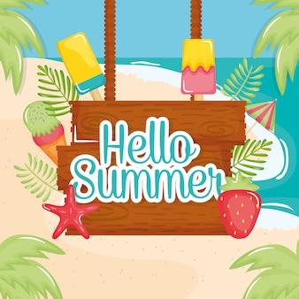 Olá cartaz de verão com rótulo de madeira