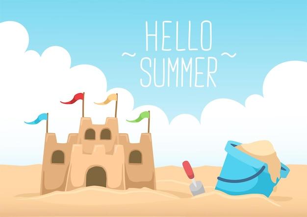 Olá castelo de areia de verão e céu claro Vetor Premium